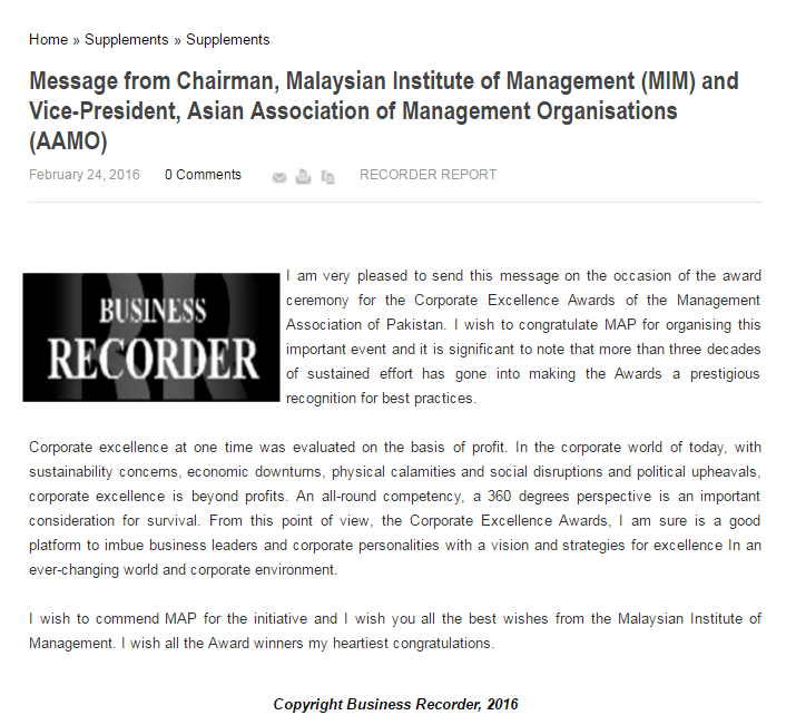 Message from Chairman, Malaysian Institute of Management (MIM) and Vice-President, Asian Association of Management Organisations (AAMO)