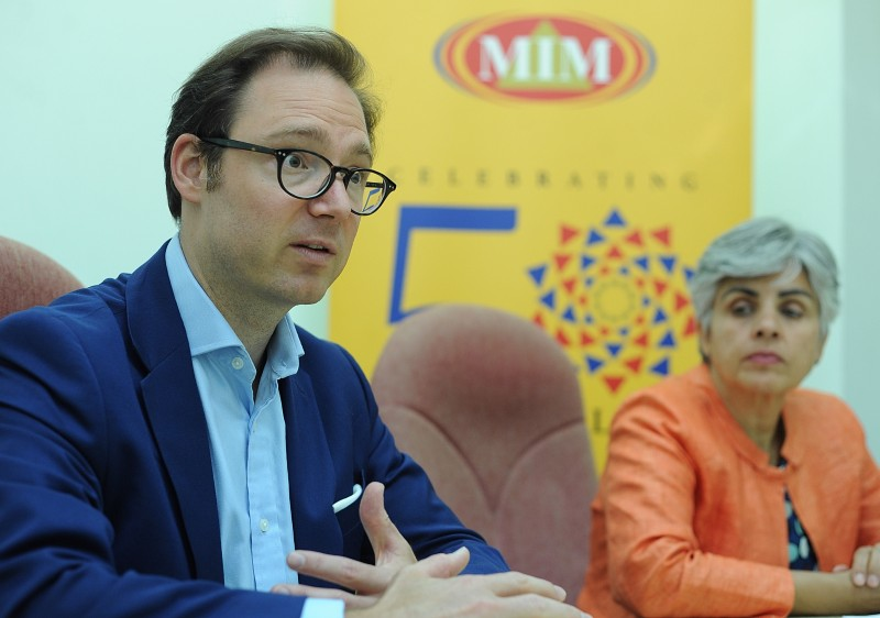 from left : Nestor advisors Director David Risser and Basel Institute On Governance Corporate Governance Compliance and Collective Action Head Gemma Aiolfi having a Interview at the Malaysia Institute of Management at Kuala Lumpur